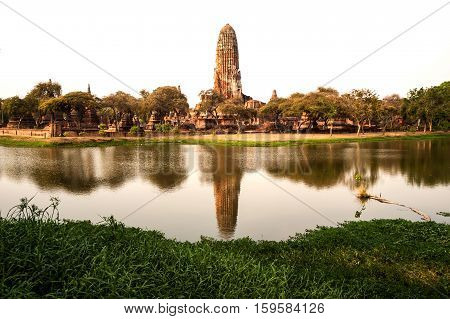 AYUTTHAYA,THAILAND-APRIL 14,2016 :Scenic view of the towering prang of Wat Phra Ram. Built in 1369 on the site of the first Ayutthaya king's cremation, Ayutthaya Historical Park in Middle of Thailand.