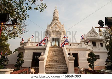 AYUTTHAYA,THAILAND - APRIL 14, 2016 : The city pillar is believed to be the abode of the Phra Lak Mueang one of the guardian spirits of the city, Ayutthaya Historical Park in Middle of Thailand.