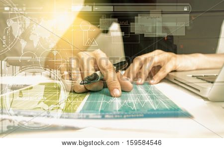 Double exposure of business people prepare and reading for documents and graph business diagram film effect and business concept copy space mock up.