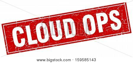 cloud ops. square. stamp. grunge. vintage. sign. Isolated