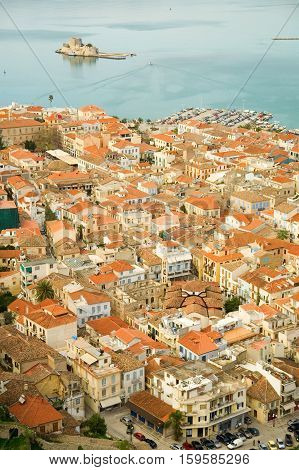 Bird's-eye View Of Nafplion Center, A Greek Town At Peloponnese Peninsula. Photo Taken From The Pala