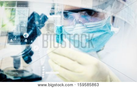 Double Exposure Of Scientist With  Microscope,equipment And Science Experiments ,laboratory Glasswar