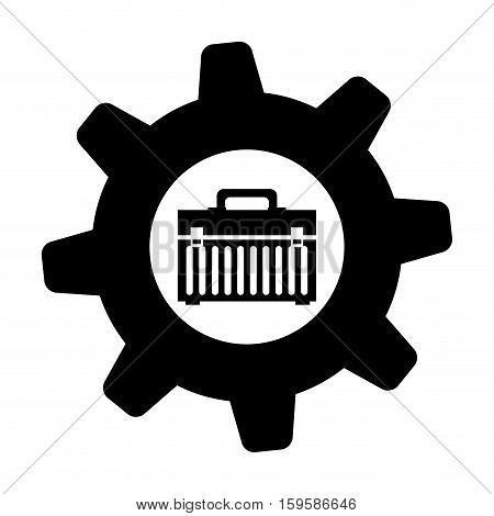 toolbox and gear icon image vector illustration design