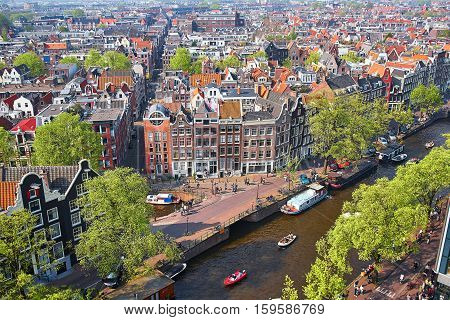 Aerial Scenic View Of Central Amsterdam