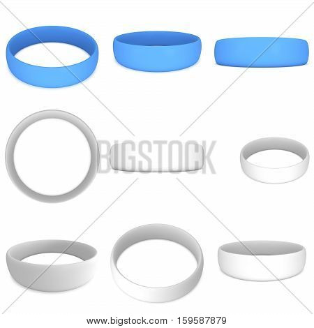 Blue and white blank rubber plastic stretch bracelet set. 3d render isolated on white background collection.