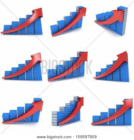 3d render stack of books with blue cover bar graph chart with red arrow growing up on white. Grow, chart, business statistic study back to school education render concept