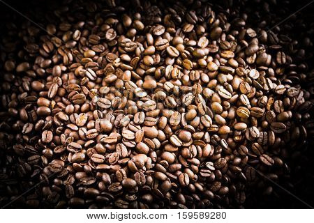 Roasted Coffee Bean Background And Texture