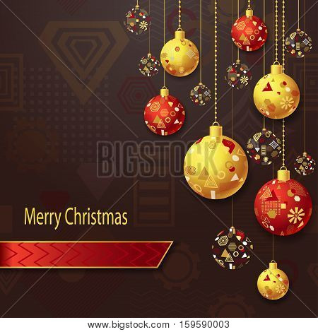 Merry Christmas or New Year background with Christmas balls in gold red on brown and geometric seamless pattern. Creative Post Card for winter holiday. Vector Stock  Illustration.