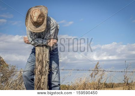 horizontal image of a caucasian cowboy standing on a barbwire fence leaning over a wood post looking down under a bright blue sky in summer time.