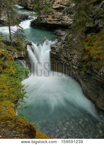 Waterfalls in the gorge Maligne Canyon. Casper, Canada