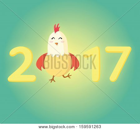 Happy rooster 2017 Chinese New Year greeting card. Little yellow chick standing as a part of the number 2017.Happy New Year card with cartoon funny rooster.The year of cock.Symbol of Chinese new year.