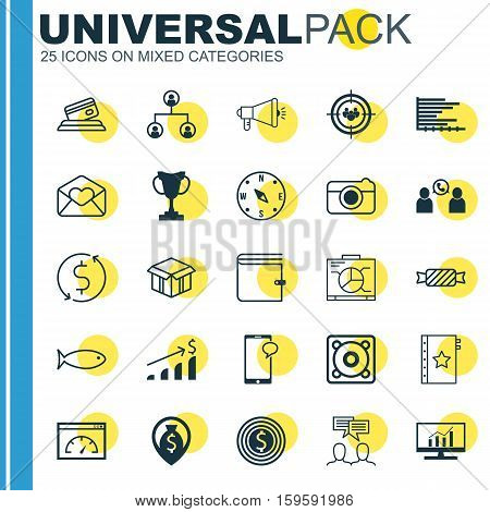 Set Of 25 Universal Editable Icons. Can Be Used For Web, Mobile And App Design. Includes Elements Such As Loading Speed, Media Campaign, Messaging And More.