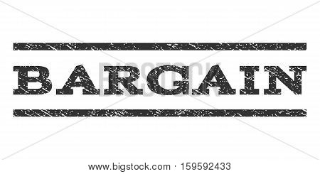 Bargain watermark stamp. Text tag between horizontal parallel lines with grunge design style. Rubber seal gray stamp with scratched texture. Vector ink imprint on a white background.