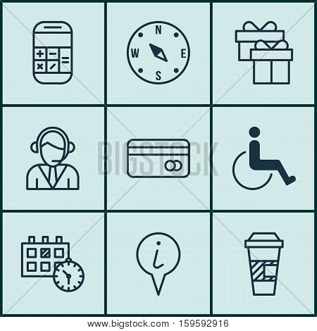 Set Of 9 Transportation Icons. Can Be Used For Web, Mobile, UI And Infographic Design. Includes Elements Such As Gift, Paralyzed, Compass And More.