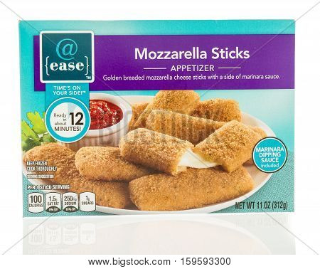 Winneconne WI - 1 December 2016: Package of @ease mozzarella sticks on an isolated background.