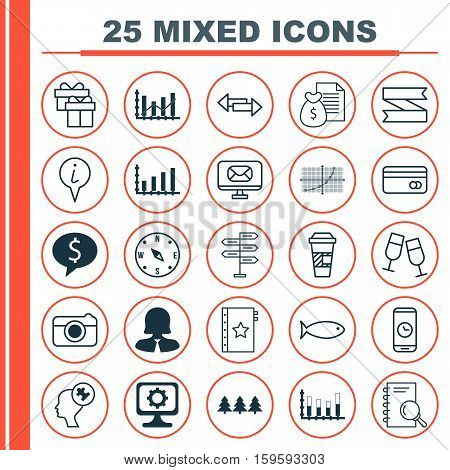 Set Of 25 Universal Editable Icons. Can Be Used For Web, Mobile And App Design. Includes Elements Such As Segmented Bar Graph, Opportunity, Warranty And More.