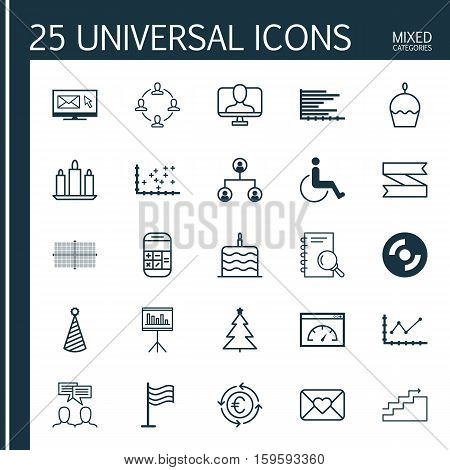 Set Of 25 Universal Editable Icons. Can Be Used For Web, Mobile And App Design. Includes Elements Such As Changes Graph, Analysis, Collaboration And More.