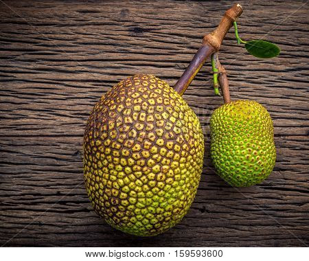 Sweet Jack Fruit On Shabby Wooden Background .tropical Fruit  Sweet And Aromatic Flesh Of A Ripe Jac
