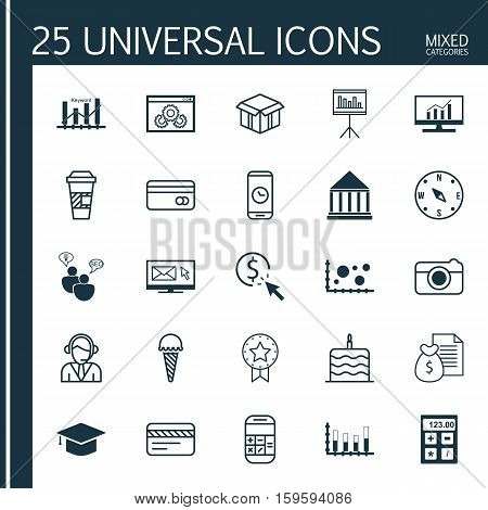 Set Of 25 Universal Editable Icons. Can Be Used For Web, Mobile And App Design. Includes Elements Such As Market Research, Takeaway Coffee, Street And More.