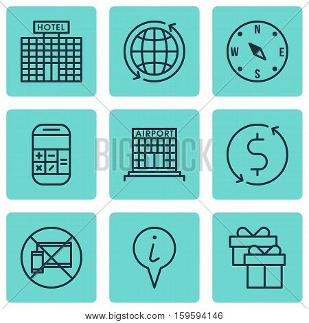 Set Of 9 Traveling Icons. Can Be Used For Web, Mobile, UI And Infographic Design. Includes Elements Such As No, Info, Exchange And More.