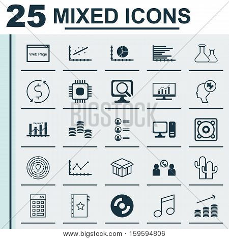 Set Of 25 Universal Editable Icons. Can Be Used For Web, Mobile And App Design. Includes Elements Such As Crotchets, Coins Growth, Phone Conference And More.
