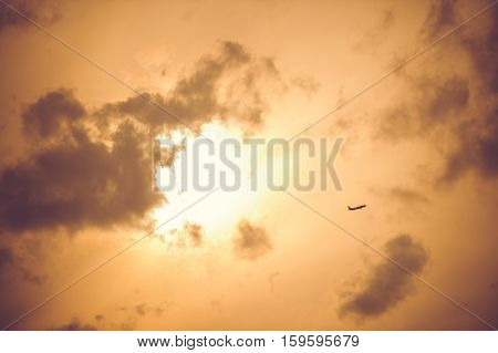 small plane taking off evening sky sunset