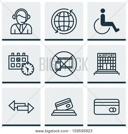 Set Of 9 Transportation Icons. Can Be Used For Web, Mobile, UI And Infographic Design. Includes Elements Such As Crossroad, Globe, Center And More.
