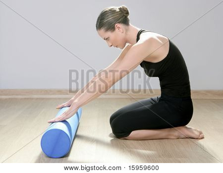 blue foam roller pilates woman sport gym fitness yoga wood floor poster