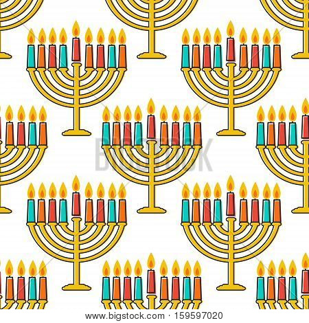 Hanukkah seamless pattern. Jewish Holiday Hanukkah symbol. Menorah candlestick , candles, donuts sufganiyan , gifts, dreidel, coins, oil. Happy Hannukah in Hebrew Vector illustration