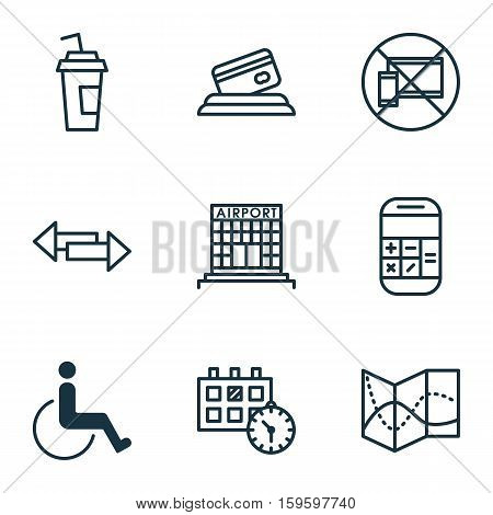 Set Of 9 Travel Icons. Can Be Used For Web, Mobile, UI And Infographic Design. Includes Elements Such As Construction, Paralyzed, Calculator And More.