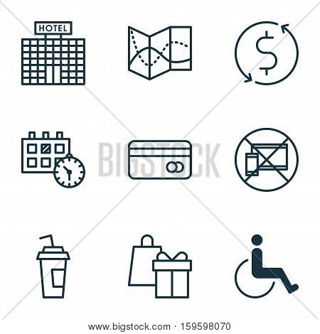 Set Of 9 Traveling Icons. Can Be Used For Web, Mobile, UI And Infographic Design. Includes Elements Such As Paralyzed, Building, Travel And More.