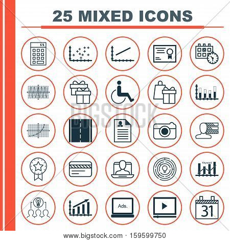 Set Of 25 Universal Editable Icons. Can Be Used For Web, Mobile And App Design. Includes Elements Such As Plot Diagram, Street, Shopping And More.