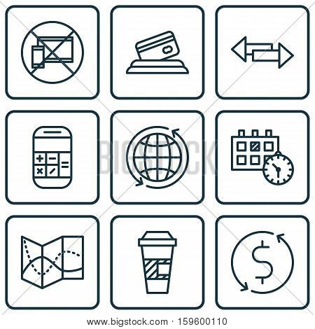 Set Of 9 Travel Icons. Can Be Used For Web, Mobile, UI And Infographic Design. Includes Elements Such As No, Map, Crossroad And More.