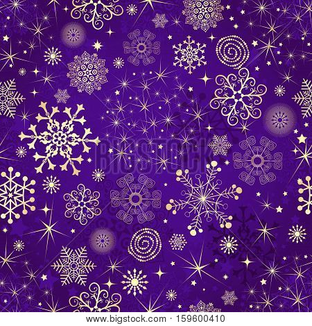 Winter violet seamless pattern with gold snowflakes and stars vector