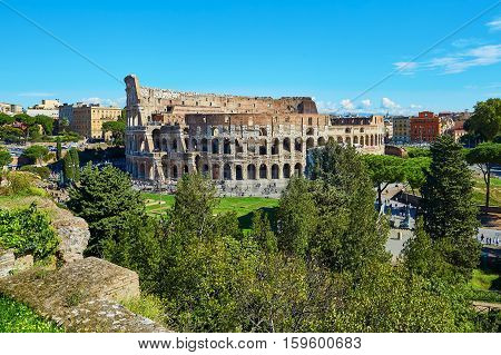 Aerial Scenic View Of Colosseum In Rome, Italy