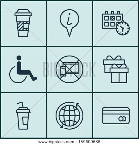 Set Of 9 Traveling Icons. Can Be Used For Web, Mobile, UI And Infographic Design. Includes Elements Such As Paralyzed, Present, Around And More.