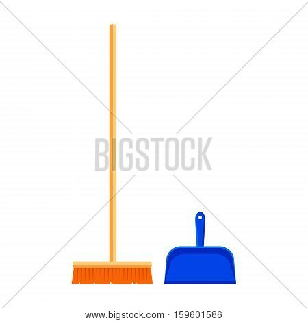 Flat mop and scoop icon logo isolated on white background. Floor cleaning object, household equipment tool clean. Cleaning service vector stock illustration