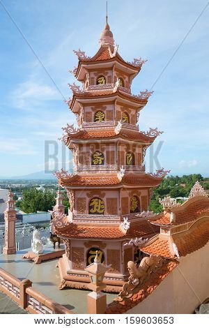 The old Pagoda in the Buddhist temple of Chua Buu Son. Phanthiet, Vietnam