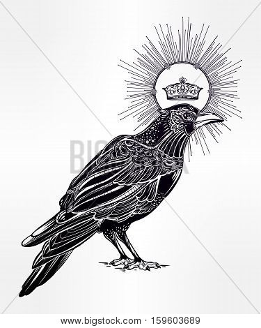 Detailed hand drawn raven bird with medieval crown decorated with rays. Isolated Vector illustration. Tattoo art, spirituality, magic symbol. Witchcraft animal, mystic element for your use.