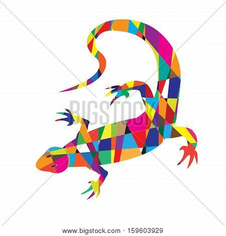 Bright Colorful Picture With The Mosaic Lizard Isolated