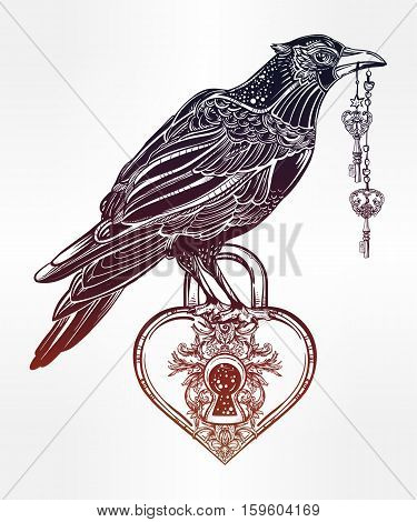 Hand drawn raven bird with heart shaped padlock in vintage engraved style with elegant keys. Isolated Vector illustration. Tattoo art, spirituality, magic symbol. Witchcraft animal, mystic element.