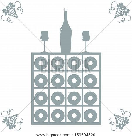 Stylized Icon Of A Colored Wine Rack, Bottle Of Wine, Wine Glasses And Grapes