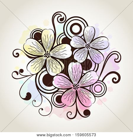 Flower watercolor design vintage vector card.