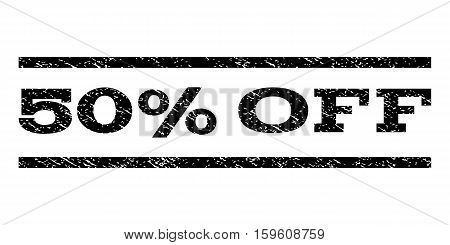 50 Percent Off watermark stamp. Text tag between horizontal parallel lines with grunge design style. Rubber seal black stamp with dust texture. Vector ink imprint on a white background.
