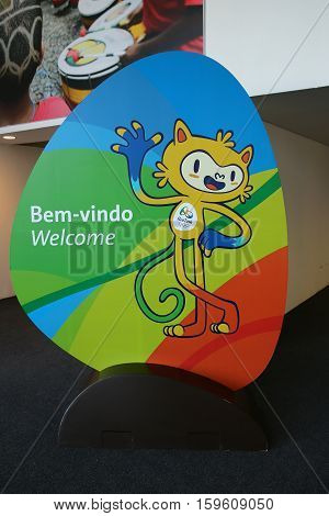 RIO DE JANEIRO, BRAZIL - AUGUST 14, 2016: Vinicius is the official mascot of the Rio 2016 Summer Olympics at the Olympic Press Center in Rio de Janeiro