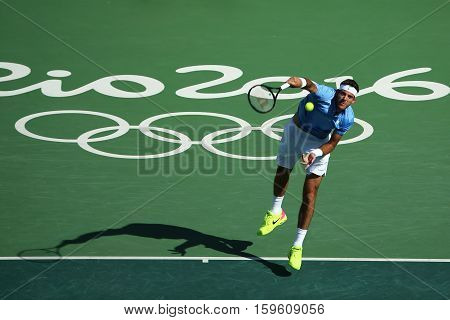 RIO DE JANEIRO, BRAZIL - AUGUST 13, 2016: Grand Slam champion Juan Martin Del Potro of Argentina in action during his semifinal match of the Rio 2016 Olympic Games at the Olympic Tennis Centre