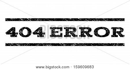 404 Error watermark stamp. Text caption between horizontal parallel lines with grunge design style. Rubber seal black stamp with scratched texture. Vector ink imprint on a white background.