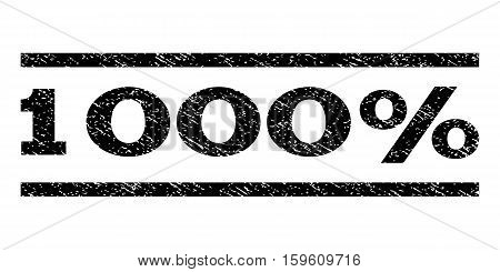1000 Percent watermark stamp. Text tag between horizontal parallel lines with grunge design style. Rubber seal black stamp with dust texture. Vector ink imprint on a white background.