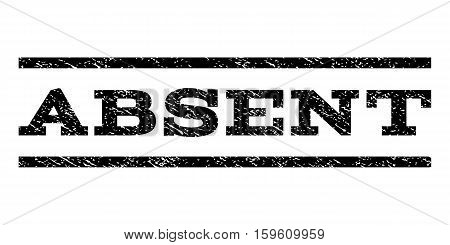 Absent watermark stamp. Text tag between horizontal parallel lines with grunge design style. Rubber seal black stamp with dirty texture. Vector ink imprint on a white background.