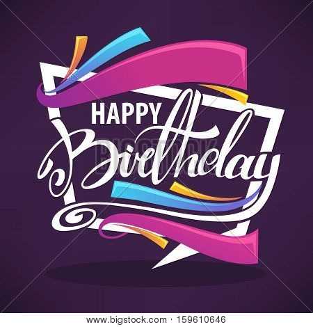 shine birthday card vector templatewith bright falgs and happy birthday lettertng composition